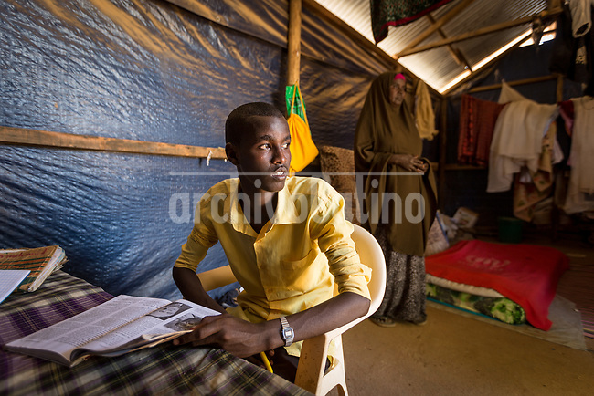Studens of  Wadajir Primary School in the refugee camp of Daadab in Kenya, with a population estimated in 250,000 people. Created in 1992 to host people escaping the civil conflict in Somalia, the camp under the custody of United Nations grew with waves of people escaping from civil wars and droughts. Generations are born, grown and died in this camp, considered the second largest of the World