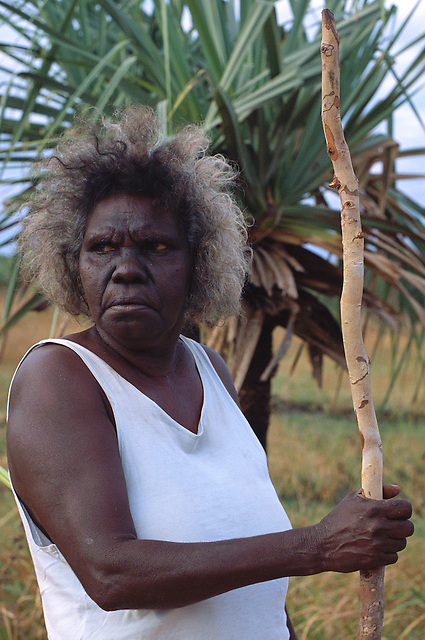 Rita Wikmunea, collecting bush materials, Aurukun, Cape York Peninsula.