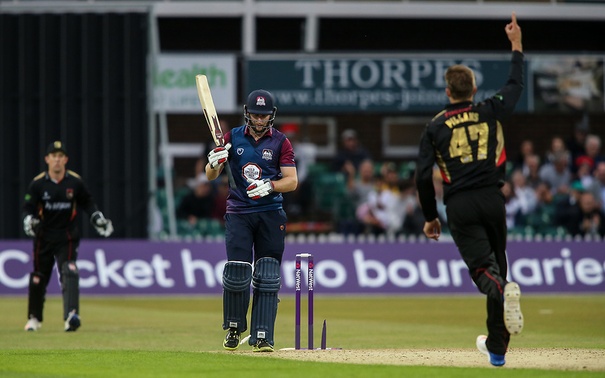 Northamptonshire's Alex Wakely is bowled by Leicestershire's Matt Pillans<br /> <br /> Photographer Andrew Kearns/CameraSport<br /> <br /> NatWest T20 Blast - Leicestershire Foxes vs Northamptonshire Steelbacks - Friday 21st July 2017 - Grace Road Leicester <br /> <br /> World Copyright &copy; 2017 CameraSport. All rights reserved. 43 Linden Ave. Countesthorpe. Leicester. England. LE8 5PG - Tel: +44 (0) 116 277 4147 - admin@camerasport.com - www.camerasport.com
