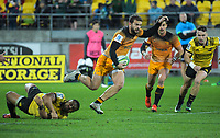 Jaguares' Ramiro Moyano beats Ngani Laumape's tackle during the Super Rugby match between the Hurricanes and Jaguares at Westpac Stadium in Wellington, New Zealand on Friday, 17 May 2019. Photo: Dave Lintott / lintottphoto.co.nz