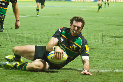 Jon Clarke scores his side's third try.  Northampton Saints v London Irish, Aviva Premiership, 26 November 2010 at Franklin's Gardens.  Final score: Northampton Saints 35-23 London Irish.