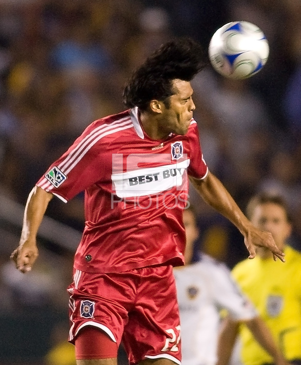 Chicago Fire defender Wilman Conde with a head ball. The LA Galaxy defeated the Chicago Fire 1-0 at Home Depot Center stadium in Carson, California on Friday October 2, 2009...