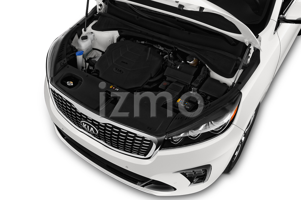 Car stock 2019 KIA Sorento SX Limited 5 Door SUV engine high angle detail view