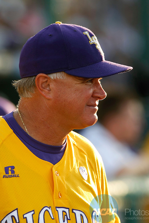 24 JUNE 2009:  Head Coach Paul Mainieri (1) of Louisiana State University awaits an interview during the Tigers game against the University of Texas during the Division I Men's Baseball Championship held at Rosenblatt Stadium in Omaha, NE.  LSU defeated Texas 11-4 for the national title.  Jamie Schwaberow/NCAA Photos