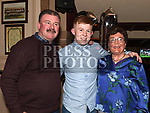 Jack Thompson celebrating his 21st birthday in Donaghys with grandmother Etty Heery and uncle Seamus Heery. Photo:Colin Bell/pressphotos.ie