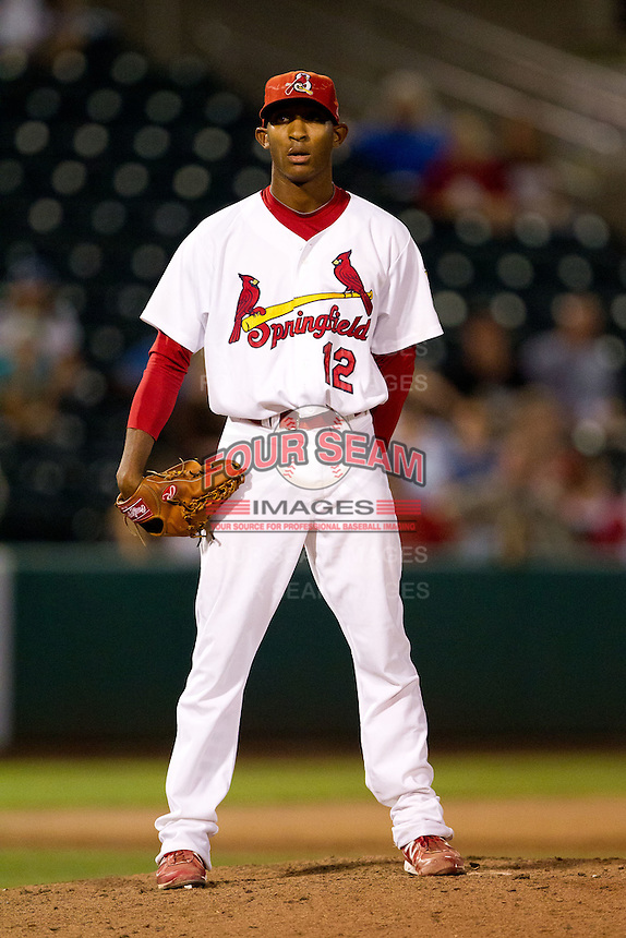 Samuel Freeman (12) of the Springfield Cardinals on the mound during a game against the Northwest Arkansas Naturals at Hammons Field on August 1, 2011 in Springfield, Missouri. Springfield defeated Northwest Arkansas 7-1. (David Welker / Four Seam Images)