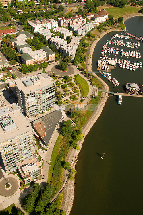 Aerial of Portland, Oregon with the Riverplace and Strand Condos