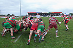 From a scrum near the touchline Viliame Setitaia gets the ball away to Augustine Pulu. Counties Manukau Premier Club Rugby game between Waiuku & Karaka played at Waiuku on Saturday July 4th 2009. Waiuku won the game 22 - 7.