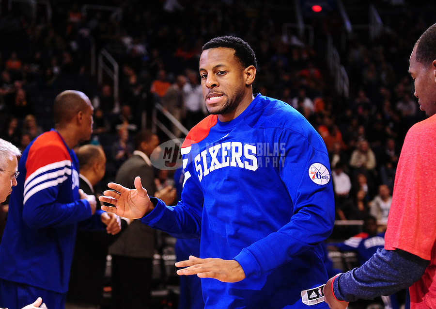 Dec. 28, 2011; Phoenix, AZ, USA; Philadelphia 76ers guard/forward Andre Igoudala before game against the Phoenix Suns at the US Airways Center. The 76ers defeated the Suns 103-83. Mandatory Credit: Mark J. Rebilas-USA TODAY Sports