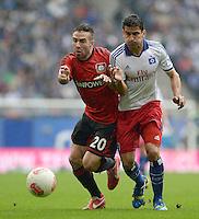 FUSSBALL   1. BUNDESLIGA   SAISON 2012/2013    34. SPIELTAG Hamburger SV - Bayer 04 Leverkusen                      18.05.2013 Daniel Carvajal (li, Bayer 04 Leverkusen) gegen Tomas Rincon (re, Hamburger SV)