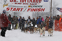 Kristen Crain of Talkeetna leaves the start line of the 2009 Junior Iditarod on Knik Lake on Saturday Februrary 28, 2009.