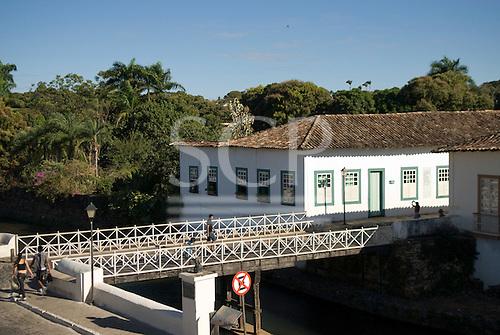 Goias Velho, Brazil. Well preserved colonial town. Wooden bridge.