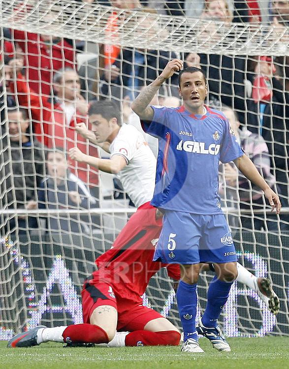 Getafe's Mario Alvarez reacts during La Liga match, April 05, 2009. (ALTERPHOTOS/Alberto Saiz).