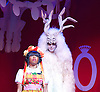 Beauty &amp; The Beast <br /> at Theatre Royal Stratford East <br /> London, Great Britain <br /> press photocall <br /> 9th December 2014 <br /> <br /> Helen Aluko as Beauty <br /> <br /> Vlach Ashton as Beast <br /> <br /> <br /> <br /> <br /> Photograph by Elliott Franks <br /> Image licensed to Elliott Franks Photography Services