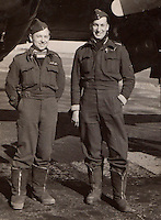 BNPS.co.uk (01202 558833)<br /> Pic: Bosleys/BNPS<br /> <br /> Flying Officer Robert Field (left) with his navigator Flight Sgt Anstey.<br /> <br /> Archive of heroic survivor of 'Very Enjoyable' Black Friday raid in which 14 of his squadron died has been revealed.<br /> <br /> A stoic British pilot who survived a disastrous World War Two operation that became known as 'Black Friday' wrote in his logbook 'very enjoyable' afterwards. <br /> <br /> Flying Officer Robert Field's Bristol Beaufighter bomber escaped unscathed from the unsuccessful RAF attack on German shipping sheltering in a Norwegian fjord in February 1945.<br /> <br /> Ten RAF planes were destroyed in the sortie resulting in the deaths of 14 crew. Four more were taken Prisoner of War having baled out. <br /> <br /> His logbook has now been made available for sale at Bosleys auctionners for &pound;400.