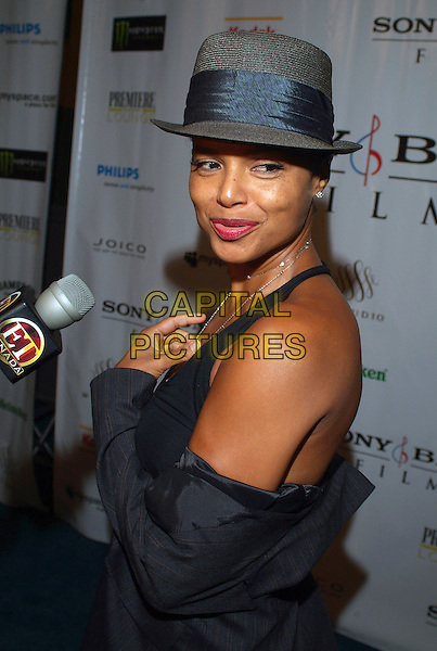 "VICTORIA ROWELL.The ""Ghost of Cite Soleil"" Party held at W Studio (Premiere Lounge) during the Toronto International Film Festival, Toronto, Ontario, Canada..September 9th, 2006.Ref: ADM/BPC.half length hat grey gray black.www.capitalpictures.com.sales@capitalpictures.com.©Brent Perniac/AdMedia/Capital Pictures"