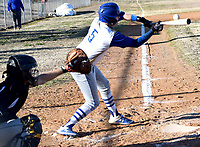 Westside Eagle Observer/MIKE ECKELS<br /> <br /> Bulldog Zac Luker (5) gets a piece of the baseball sending it deep into center field during the Decatur-Mulberry non-conference matchup Friday night at Edmiston ball field in Decatur. the Bulldogs won its first home game of the 2020 season 17-7 over the Mulberry Yellowjackets.