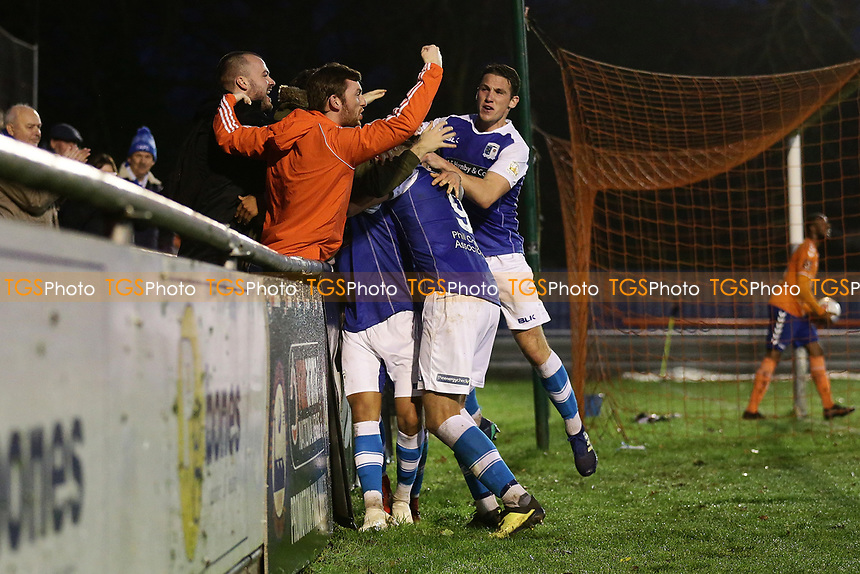 Tyler Smith of Barrow scores the second goal for his team and celebrates during Braintree Town vs Barrow, Vanarama National League Football at the IronmongeryDirect Stadium on 1st December 2018