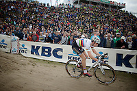 U23 World Champion Wout Van Aert (BEL/Vastgoedservice-Golden Palace) in the infamous &quot;The Pit&quot;<br /> <br /> GP Zonhoven 2014