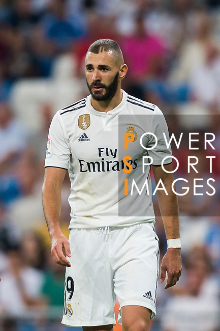Karim Benzema of Real Madrid looks on during the La Liga 2018-19 match between Real Madrid and Getafe CF at Estadio Santiago Bernabeu on August 19 2018 in Madrid, Spain. Photo by Diego Souto / Power Sport Images