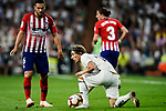 Luka Modric of Real Madrid (R) in action against Jorge Koke of Atletico de Madrid (L) during their La Liga  2018-19 match between Real Madrid CF and Atletico de Madrid at Santiago Bernabeu on September 29 2018 in Madrid, Spain. Photo by Diego Souto / Power Sport Images