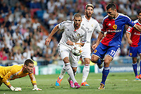 Benzema, Sergio Ramos of Real Madrid and Tomas Vaclik and Samuel of FC Basel 1893 during the Champions League group B soccer match between Real Madrid and FC Basel 1893 at Santiago Bernabeu Stadium in Madrid, Spain. September 16, 2014. (ALTERPHOTOS/Caro Marin) /NortePhoto.com