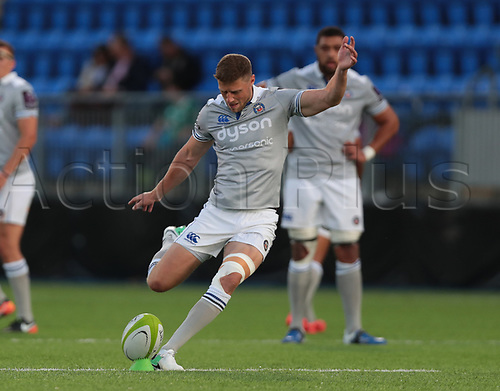 25th August 2017, Donnybrook Stadium, Dublin, Ireland; Pre Season Rugby Friendly; Leinster Rugby versus Bath Rugby; Rhys Priestland (Bath) attempts to convert a penalty