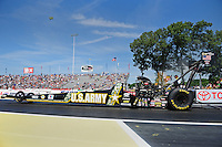 Jun. 3, 2012; Englishtown, NJ, USA: NHRA top fuel dragster driver Tony Schumacher during the Supernationals at Raceway Park. Mandatory Credit: Mark J. Rebilas-