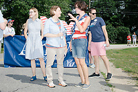 Democratic presidential candidate and Minnesota senator Amy Klobuchar marches in the 4th of July parade in Amherst, New Hampshire, on Thu., July 4, 2019.