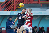 2nd February 2019, Hope CBD Stadium, Hamilton, Scotland; Ladbrokes Premiership football, Hamilton Academical versus Dundee; Craig Curran of Dundee competes in the air with Alex Gogic of Hamilton Academical