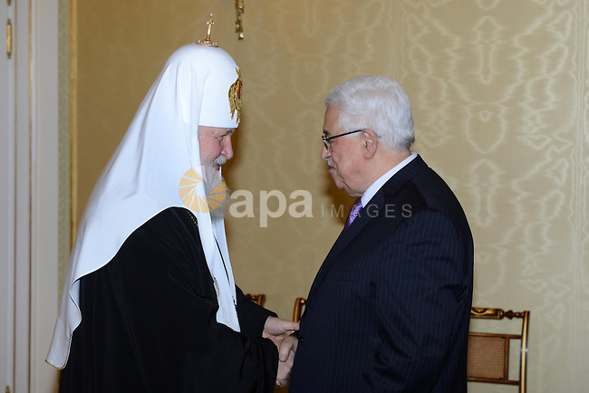 Palestinian President Mahmoud Abbas meets with Russian Orthodox Patriarch Kirill, in Moscow on March 15, 2013. Photo by Thaer Ganaim