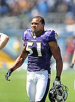 Sep. 20, 2009; San Diego, CA, USA; Baltimore Ravens linebacker (51) Brendon Ayanbadejo against the San Diego Chargers at Qualcomm Stadium in San Diego. Baltimore defeated San Diego 31-26. Mandatory Credit: Mark J. Rebilas-