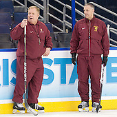 Bob Daniels (FSU - Head Coach), Drew Famulak (FSU - Associate Head Coach) - The Ferris State University Bulldogs practiced on Friday, April 6, 2012, during the 2012 Frozen Four at the Tampa Bay Times Forum in Tampa, Florida.