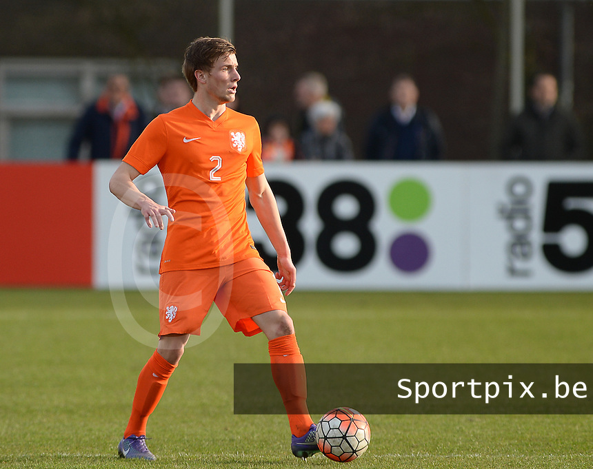20160326  - Uden , NETHERLANDS : Dutch Hidde Ter Avest (2) pictured during the soccer match between the under 19 teams of The Netherlands and Northern Ireland , on the second matchday in group 4 of the UEFA Under19 Elite rounds in Uden , Netherlands. Saturday 26 th March 2016 . PHOTO DAVID CATRY