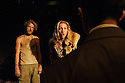 London, UK. 05.01.2016. Two Shed Theatre's AFRICAN GOTHIC, by Reza de Wet, directed by Roger Mortimer and Deborah Edgington, opens at Park Theatre. Picture shows: Oliver Gomm (Frikkie), Janna Fox (Sussie),Adam Ewan (Grové). Photograph © Jane Hobson.