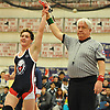 Sebastian Sandler of Cold Spring Harbor raises his arm after his victory at 152 pounds over Liam Coffey of Carle Place-Wheatley in the Nassau County Division II varsity wrestling finals at Cold Spring Harbor High School on Saturday, Feb. 10, 2018.
