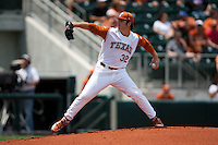 Texas Longhorns pitcher Dillon Peters #32 delivers during the NCAA baseball game against the Texas A&M Aggies on April 29, 2012 at UFCU Disch-Falk Field in Austin, Texas. The Longhorns beat the Aggies 2-1 in the last ever regular season game scheduled for the long time rivals. (Andrew Woolley / Four Seam Images)