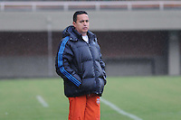 ENVIGADO -COLOMBIA-16-03-2014. Juan Carlos Sanchez, tecnico de Envigado FC durante partido de la once fecha de la Liga Postobon I 2014, jugado en el estadio Polideportivo del Sur de Envigado.  / Juan Carlos Sanchez, coach of Envigado FC during a match for the 11th date of the Liga Postobon I 2014 at the Polideportivo del Sur stadium in Envigado city.  Photo: VizzorImage/Luis Ríos/STR