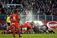 A general view of a scrum. European Rugby Champions Cup match, between Bath Rugby and RC Toulon on December 16, 2017 at the Recreation Ground in Bath, England. Photo by: Patrick Khachfe / Onside Images