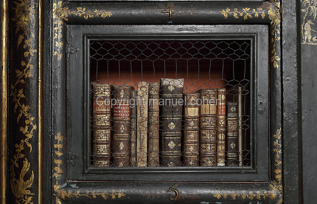 Bookcase with Chinese motifs, lacquer and gilding by Manuel da Silva, in the Black Room of the Joanina Library, or Biblioteca Joanina, a Baroque library built 1717-28 by Gaspar Ferreira, part of the University of Coimbra General Library, in Coimbra, Portugal. The Casa da Livraria was built during the reign of King John V or Joao V, and consists of the Green Room, Red Room and Black Room, with 250,000 books dating from the 16th - 18th centuries. The library is part of the Faculty of Law and the University is housed in the buildings of the Royal Palace of Coimbra. The building is classified as a national monument and UNESCO World Heritage Site. Picture by Manuel Cohen