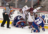Tim Benedetto, Gregory Amlong (UML - 22), Patrick Brown (BC - 23), Brooks Dyroff (BC - 14), Derek Arnold (UML - 29) - The University of Massachusetts Lowell River Hawks defeated the Boston College Eagles 4-2 (EN) on Tuesday, February 26, 2013, at Kelley Rink in Conte Forum in Chestnut Hill, Massachusetts.