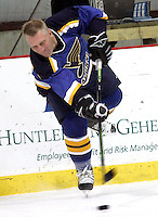 (Sunday, December 03, 2006)-Former St. Louis Blues player Brett Hull fires off a pass during the St. Louis Blues Alumni Hockey Game at the Summit Center in Chesterfield. Brett Hull's number, 16,  was retired.