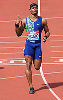 Omar McCleod (Jamaica) wins the Men's 110m hurdles during the IAAF Diamond League Athletics Müller Grand Prix Birmingham at Alexander Stadium, Walsall Road, Birmingham on 18 August 2019. Photo by Alan  Stanford.