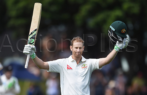 14.02.2016. Basin Reserve, Wellington, New Zealand. New Zealand versus Australia First Test. New Zealand versus Australia First Test. Australian batsman Adam Voges celebrates his double century.