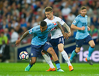 Newcastle's Kenedy and Tottenham's Kieran Trippier during the EPL - Premier League match between Tottenham Hotspur and Newcastle United at Wembley Stadium, London, England on 9 May 2018. Photo by Andrew Aleksiejczuk / PRiME Media Images.