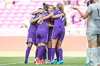 Orlando, FL - Sunday May 14, 2017: Team celebration during a regular season National Women's Soccer League (NWSL) match between the Orlando Pride and the North Carolina Courage at Orlando City Stadium.