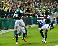 PALMIRA - COLOMBIA, 11-08-2018: Jose Sand (#9) jugador del Deportivo Cali celebra después de anotar un gol a Deportivo Independiente Medellín durante partido por la fecha 4 de la Liga Águila II 2018 jugado en el estadio Palmaseca de la ciudad de Palmira. / Jose Sand (#9) player of Deportivo Cali celebrates after scoring a goal to Deportivo Independiente Medellin during match for the date 4 of the Aguila League II 2018 played at Palmaseca stadium in Palmira city.  Photo: VizzorImage/ Nelson Rios / Cont