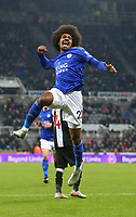 1st January 2020; St James Park, Newcastle, Tyne and Wear, England; English Premier League Football, Newcastle United versus Leicester City; Hamza Choudhury of Leicester City celebrates after he scores in the 87th minute to make it 0-3 - Strictly Editorial Use Only. No use with unauthorized audio, video, data, fixture lists, club/league logos or 'live' services. Online in-match use limited to 120 images, no video emulation. No use in betting, games or single club/league/player publications