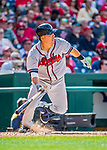 8 July 2017: Atlanta Braves catcher Kurt Suzuki in action against the Washington Nationals at Nationals Park in Washington, DC. The Braves shut out the Nationals 13-0 to take the third game of their 4-game series. Mandatory Credit: Ed Wolfstein Photo *** RAW (NEF) Image File Available ***