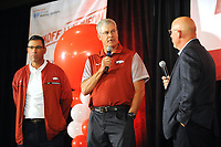 NWA Democrat-Gazette/ANDY SHUPE<br /> Arkansas defensive coordinator Paul Rhoads (center) answers questions Friday, Aug. 18, 2017, as offensive coordinator Dan Enos (left) and Chuck Barrett listen during the Kickoff Luncheon at the Northwest Arkansas Convention Center in Springdale. Visit nwadg.com/photos to see more photographs from the luncheon.